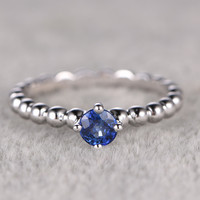 5mm Round Blue Tanzanite Engagement Ring 14K White Gold Wedding Ring Unique Prong Set