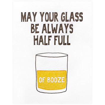 Glass Half Full Of Booze Card