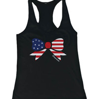 Women's Graphic Design Tank Top - American Flag Ribbon Design