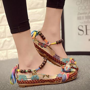 Fashion Women Ethnic Beading Round Toe Comfortable Flats embroidered cotton shoes