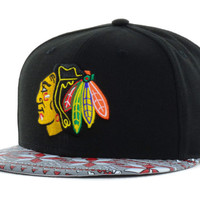 Chicago Blackhawks NHL Snowflect 9FIFTY Strapback Cap