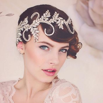 Great Gatsby Inspired Silver Crystal Bridal Hair Vine