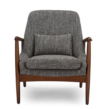 Baxton Studio Carter Mid-Century Modern Retro Grey Fabric Upholstered Leisure Accent Chair in Walnut Wood Frame Set of 1