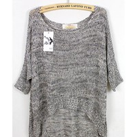 *Free Shipping Worldwide* Ladies Sexy Middle Sleeve Vogue Asymmetry Grey Loose Knitting Sweater One Size