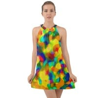 Colorful Watercolors Texture Halter Tie Back Chiffon Dress