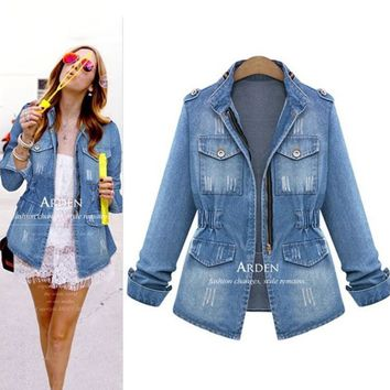 Fall Fashion Long Sleeve Zippers Slim Denim Jacket [9150489159]