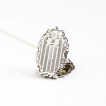 """Antique Art Deco Initial """"H"""" Sterling Silver Locket - Vintage 1920s Filigree Floral Etched Large Statement Flapper Era Photograph Jewelry"""