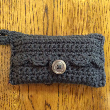 Pocket tissue holder, key ring, travel tissue, Mother's Day gift, hand crochet, shower gift, game prize, gray, handmade, pouch, party favor
