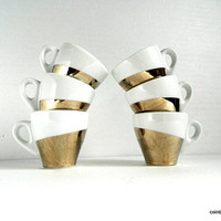 6 expresso coffee cups. White and silver porcelain.