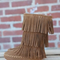 Girls 3 Layer Fringe Boot by Pierre Dumas {New Tan Suede}