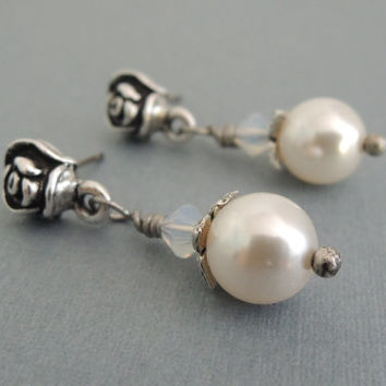 Pearl and Rose Post Earrings Wedding Jewelry Vintage Inspired Silver Rose Earrings White Pearl Earrings Small Pearl Dangles Post Dangles