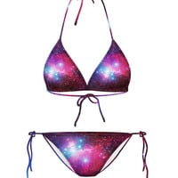 Purple Galaxy Print Strappy Bikini