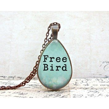 Free Bird Necklace : Quote Necklace. Tear Drop Art Pendant. Copper Jewelry.