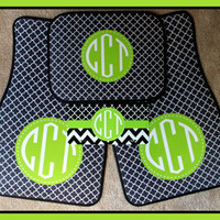 Monogrammed Gifts Car Accessories Monogrammed Car Mat Black Clover and Lime Frame Car Mats Personalized Car Mats Monogrammed Car Mats