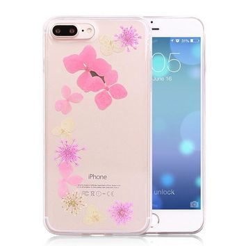 summer pressed flower case real dried flowers phone case limited handmade cover for iphone 7 7plus iphone se 5s 6 6 plus gift box 263  number 1