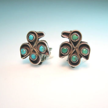 Native American Earrings Thunderbird Jewelry. Sterling Silver Turquoise. Zuni Snake Eye Clip Ons. 1950s Vintage Bird Jewelry