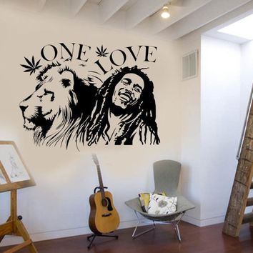 "Wall Stickers Muraux Bob Marley Lion Zion ""ONE LOVE"" Marijuana Quote Wall Art Sticker Vinilos paredes Living Room Decor NY-308"