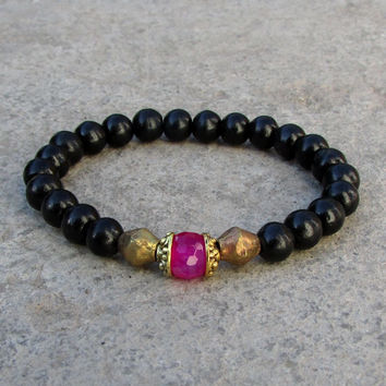 Strength and Grounding, genuine Ebony and Pink agate guru bead bracelet