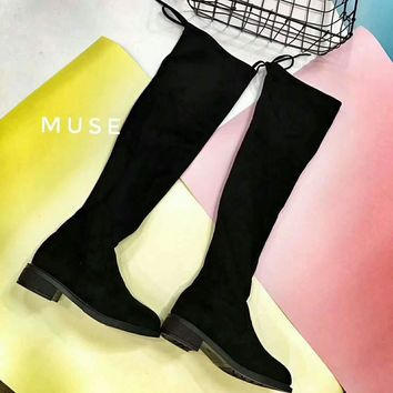 Women Stretch Velvet Slim Thigh High Boots Sexy Fashion Over the Knee Boots High Heels Woman Shoes Winered I-AGG-CZDL