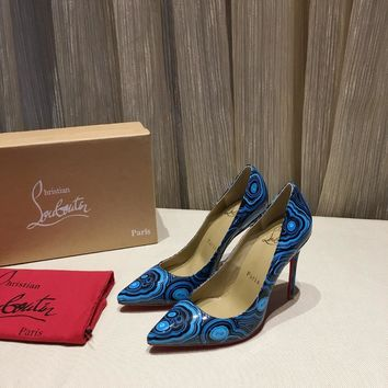 CL Christian Louboutin Women Trending Leather Blue High Heel Shoes Best Quality