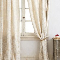 Coqo Floral Curtain by Anthropologie in Ivory Size: