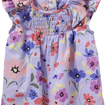Old Navy Floral Flutter Sleeve Tops For Baby