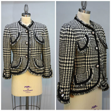 Bill Blass Jacket - Vintage American Designer Black and Off-white Houndstooth Check Wool  Jacket with Rhinestone Buttons and Fringe