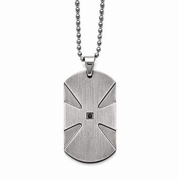 Stainless Steel Brushed .03ct Black Diamond Dog Tag Necklace