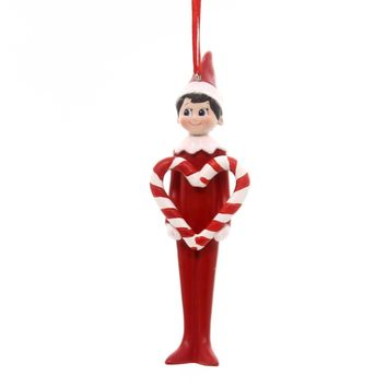 Holiday Ornaments CANDY CANE ELF ON A SHELF Polyresin Christmas Heart 4051641