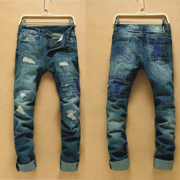 Winter Men's Fashion Korean Men Ripped Holes Pants Jeans [6528534083]