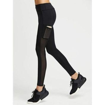 Mesh Paneled Leggings With Side Pocket