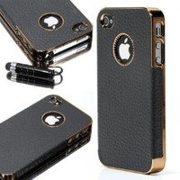 ATC Masione(TM) Gold Edge Chrome Vintage PU Leather Protective Case Cover for Apple iPhone 4 with Free Screen Protector & Stylus Pen (iPhone 4/4s, White)