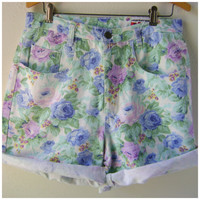 90s Floral High Waist Shorts Vintage Denim Board Short Purple Blue Pink Size S/M Small Medium Hipster Boho 1990s Revival Summer Bottoms