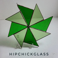 stained glass suncatcher, light, medium & dark green pinwheel suncatcher