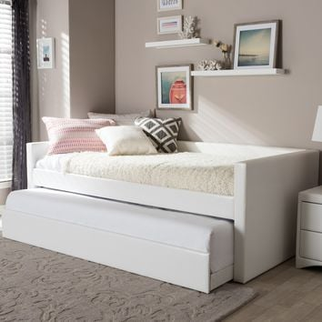 Baxton Studio Risom Modern and Contemporary White Faux Leather Upholstered Twin Size Daybed Bed Frame with Trundle  Set of 1