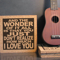 ERIC CLAPTON - Wonderful Tonight Lyrics - Cork Lyric Wall Art and Hot Pad Trivet - Anniversary Gift Idea For Him For Her