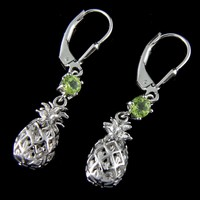 GENUINE PERIDOT SILVER 925 HAWAIIAN 3D PINEAPPLE LEVERBACK EARRINGS RHODIUM