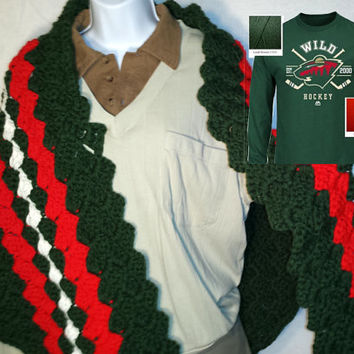 Customized Minnesota Wild Team Hockey Crochet Shawl Team Wrap Ladies Shawl Mens Shawl Childs Shawl Gift for Him Gift for Her Made to Order