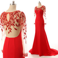 Long Sleeve Red Prom Dress Handmade Beading Satin Red Mermaid Formal Evening Gowns Sweep Train Red Dress Prom