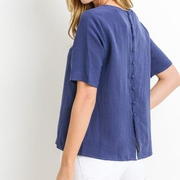 Button Back Top, Navy