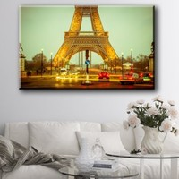 "Large Size 26x42"" Box Framed Canvas Print Artwork Stretched Gallery Wrapped Wall Art Like Painting Hanging Original Decorative Modern Home & Living Decor Paris Pattern Bedroom Romance Mural France the Eiffel Tower City World (Canm51)"