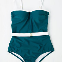 Love is Wading One-Piece Swimsuit in Teal   Mod Retro Vintage Bathing Suits   ModCloth.com