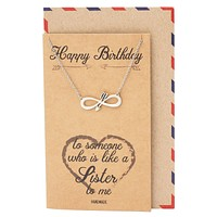 Eyna Birthday Infinity Arrow Pendant Necklace, Friendship Gifts, Birthday Gifts, with Greeting Card