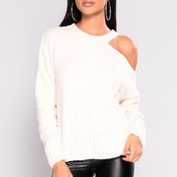 Brooklyn Soft Cold Shoulder Sweater - Ivory