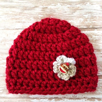 Crochet Baby Hat / Beanie- Red with Sock Monkey Button Flower - Newborn to 3 months / Photo Prop / Baby Girl