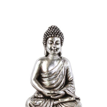 Resin Meditating Buddha Figurine in Dhyana Mudra with Rounded Ushnisha Small Glaze Finish Antique Silver