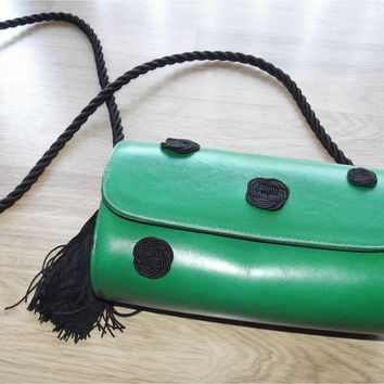 Vintage 80s Barrel Handbag | 1980s Susan Gail Purse | Bellido Green Leather | Made in Spain | Fringe Tassel Handbag | Structured Handbag