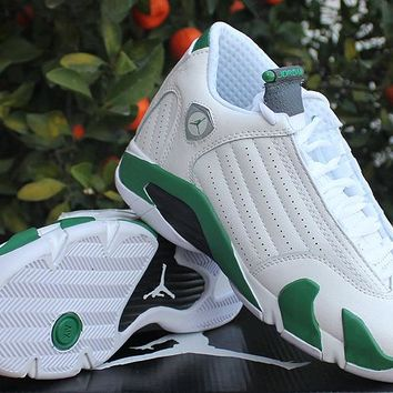 Air Jordan 14 Retro AJ14 White/Green Women Sneaker Shoe US 5.5-8.5