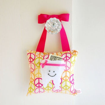 Girls Tooth Fairy Pillow Tooth Fairy Gift in Peace Sign Print