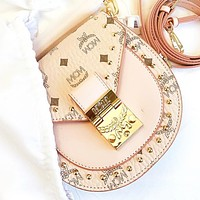 MCM Fashion rivets more letter leather shopping leisure  shoulder bag crossbody bag saddle bag Pink